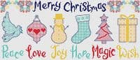 Lakeside Needlecraft Christmas Wishes PDF cross stitch chart & kit options